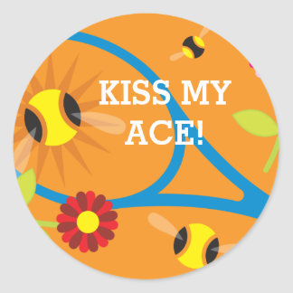 Kiss my ace! Cute tennis theme party favor Classic Round Sticker