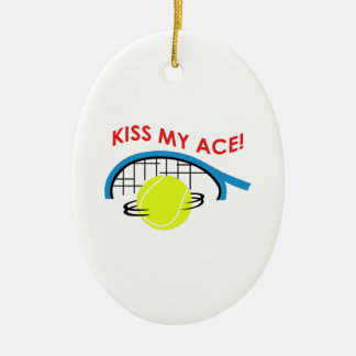 KISS MY ACE Double-Sided OVAL CERAMIC CHRISTMAS ORNAMENT