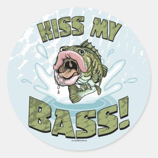 Kiss My Bass Big Mouth Fish Gear Classic Round Sticker