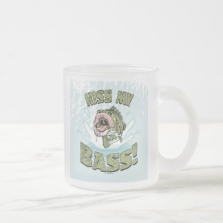 Kiss My Bass Big Mouth Fish Gear Frosted Glass Coffee Mug