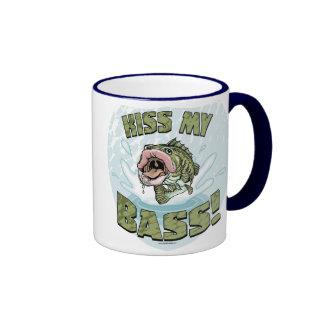 Kiss My Bass Big Mouth Fish Gear Ringer Coffee Mug
