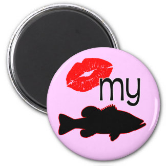 Kiss my Bass - funny bass fishing 2 Inch Round Magnet