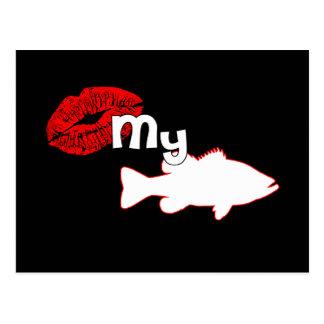 Kiss my Bass - funny bass fishing Postcard