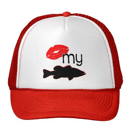 Kiss my bass funny bass fishing trucker hat zazzle for Bass fishing hats