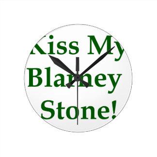 Kiss My Blarney Stone Round Clock