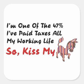 KISS MY DONKEY SQUARE STICKER