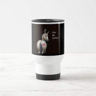 kiss my donkey travel mug