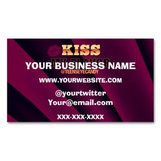 Kiss My Flavor Vape Burgundy Black Business Card Magnet