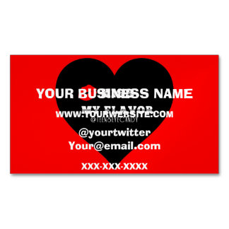 Kiss My Flavor Vape  Red Black Heart Magnetic Business Card
