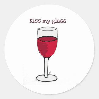 KISS MY GLASS...WINE PRINT by jill Round Stickers