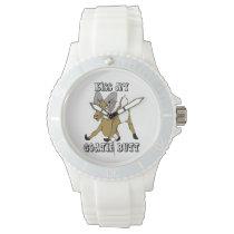 Kiss my Goatie Butt Funny Goat Wrist Watch