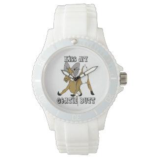 Kiss my Goatie Butt Funny Goat Wrist Watches