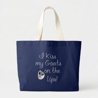 Kiss My Goats Funny Goat Sayings Jumbo Tote Bag