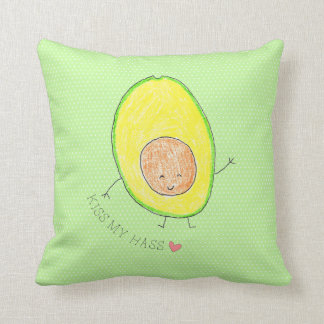 Kiss My Hass,  avocado funny and cute Throw Pillow