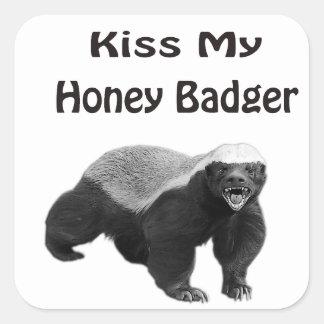 kiss My Honey Badger Square Sticker