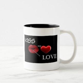 kiss my love Two-Tone coffee mug