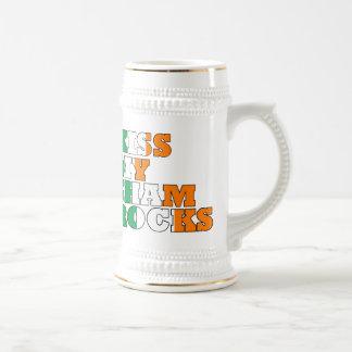 Kiss my shamrocks beer stein