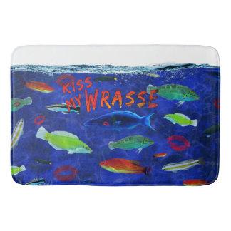 Kiss My Wrasse Fish Bathroom Mat