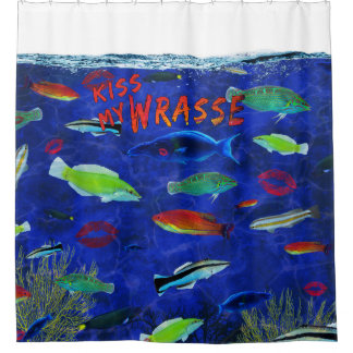 Kiss My Wrasse Fish Shower Curtain