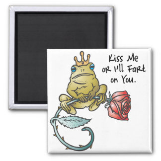 kiss or ill fart frog 2 inch square magnet
