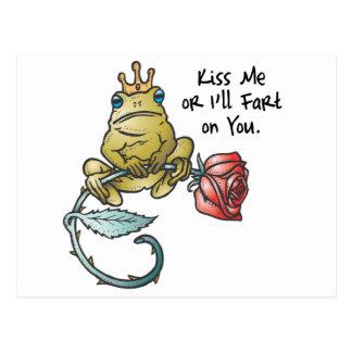 kiss or ill fart frog postcard