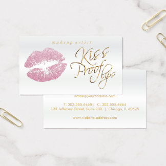 Kiss Proof Lips - Pink Glitter and Elegant Gold 2 Business Card
