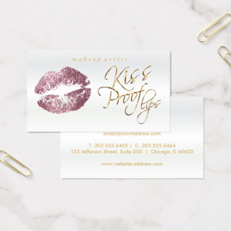 Kiss Proof Lips - Pink  Rose Glitter Business Card