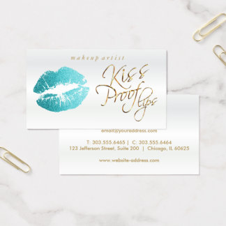 Kiss Proof Lips - Teal Glitter Business Card
