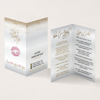 Kiss Proof Pink Lips and Gold Lip Instructions Business Card