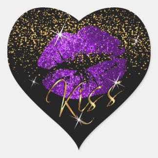 Kiss Purple and Gold Glitter Lips Heart Sticker