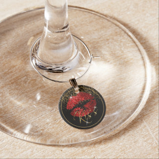 Kiss Red Glitter Lips Wine Glass Charm