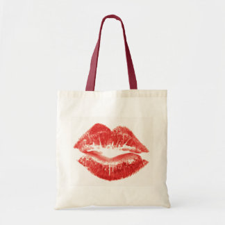 Kiss, red lips tote bag