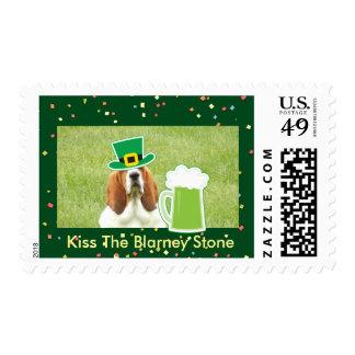 """Kiss The Blarney Stone"" ""U.S. stamp"" with basset Postage"