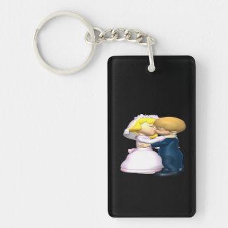 Kiss The Bride Double-Sided Rectangular Acrylic Keychain