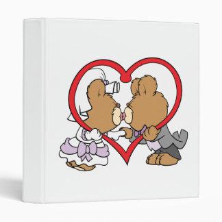 kiss the bride groom teddy bears 3 ring binder