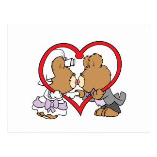kiss the bride groom teddy bears postcard