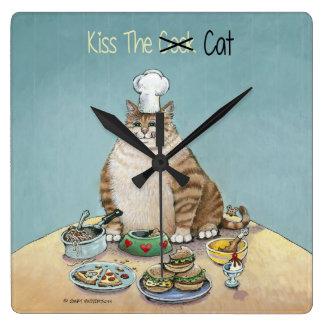Kiss The Cat Square Wall Clock
