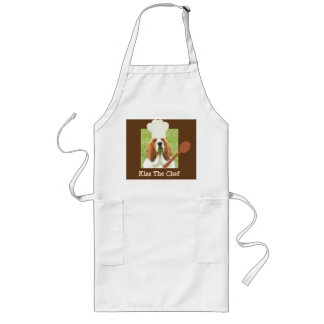 """""""Kiss The Chef"""" apron with basset hound chef"""