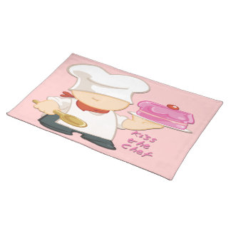 """Kiss the Chef Cloth Placemat (20"""" x 14"""")"""