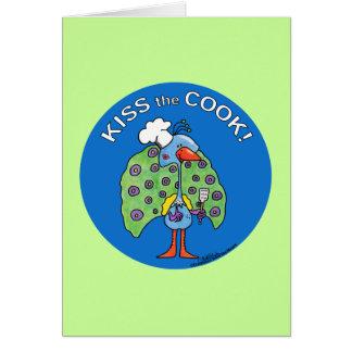 Kiss the Cook! circle Greeting Card