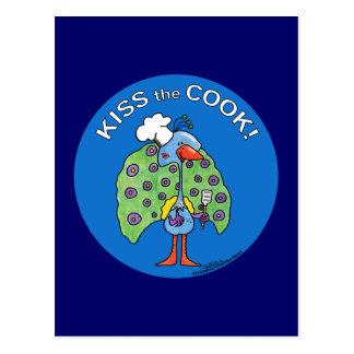 Kiss the Cook! circle Postcard