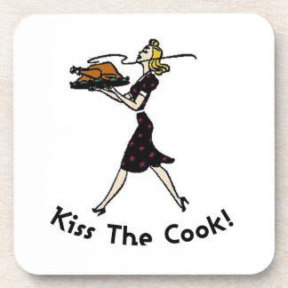Kiss the Cook! Cork Coaster
