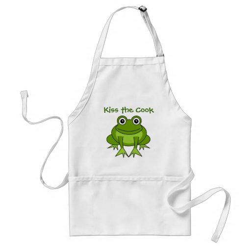 Kiss The Cook Cute Frog Cartoon Apron