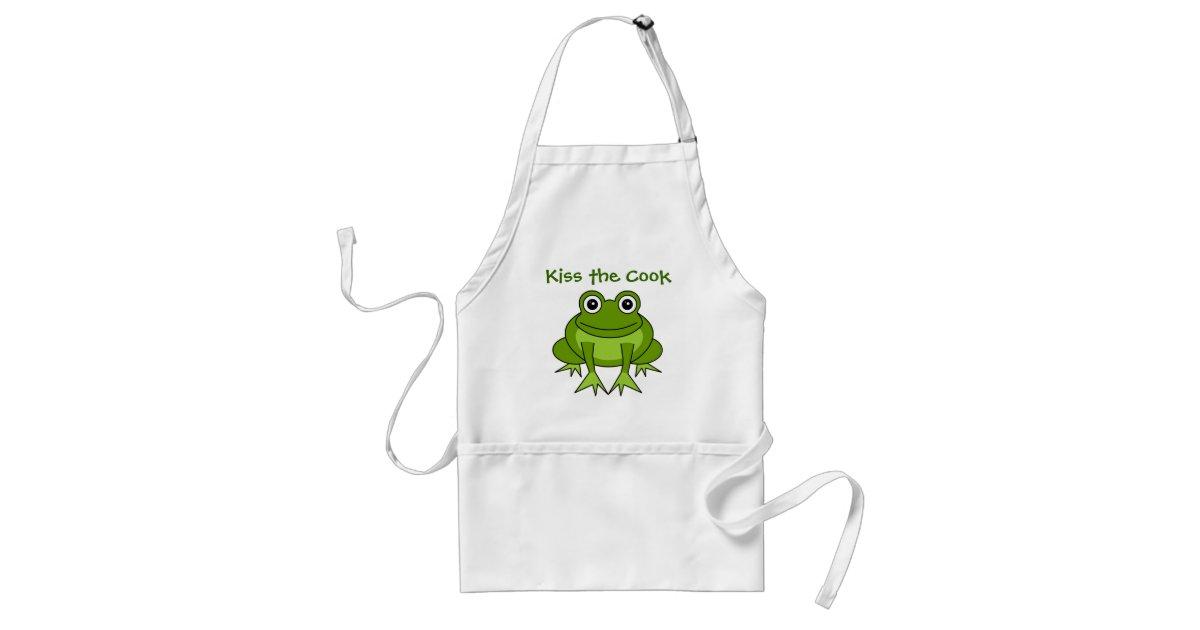 Kiss The Cook Cute Frog Cartoon Apron Zazzle Com