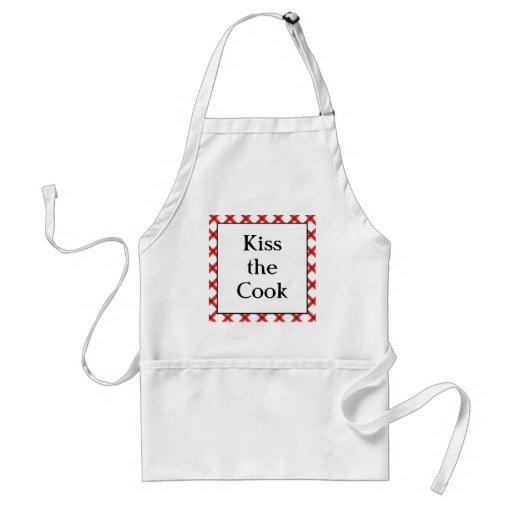 Kiss the Cook Kitchen Custom Retro Saying Adult Apron