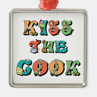 Kiss the Cook Metal Ornament