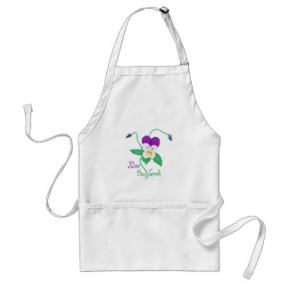 """""""Kiss the Cook"""" Purple & Yellow White Viola Pansy Adult Apron"""