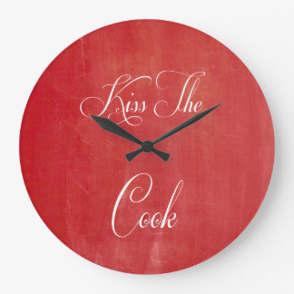 Kiss The Cook Red Chalkboard Kitchen Wall Clock