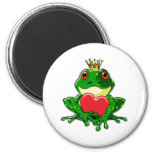 Kiss the Frog Prince 2 Inch Round Magnet