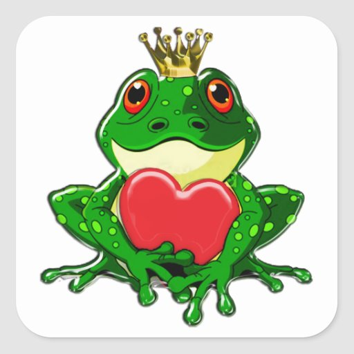 Kiss the Frog Prince Square Sticker